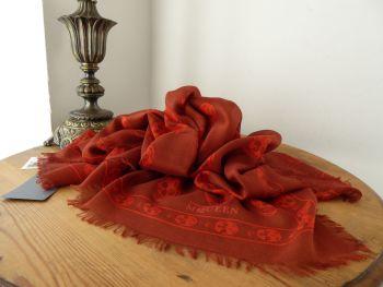 Alexander McQueen Skull Scarf in Russet & Red Silk Modal Mix