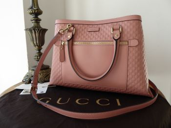 Gucci Medium Shoulder Tote in Dusky Rose Pink Micro GG Guccissima Embossed Calfskin - New