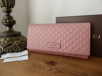 Gucci Continental Flap Wallet Purse in Dusky Rose Pink Micro GG Guccissima Embossed Calfskin - New