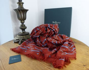 Mulberry 'M' Logo Jacquard Square Scarf Wrap in Silk Modal Mix