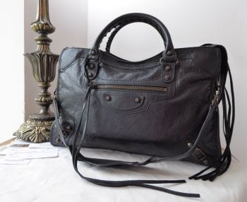 Balenciaga Classic City in Black Agneau with Dark Aged Brass Hardware
