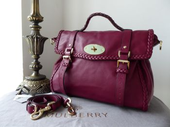Mulberry Oversized Alexa with Woven Trim in Berry Calf Nappa & Felt Liner