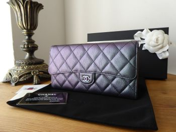 Chanel Classic Continental Flap Wallet Purse in Iridescent Mermaid Purple with Rainbow Hardware  - New