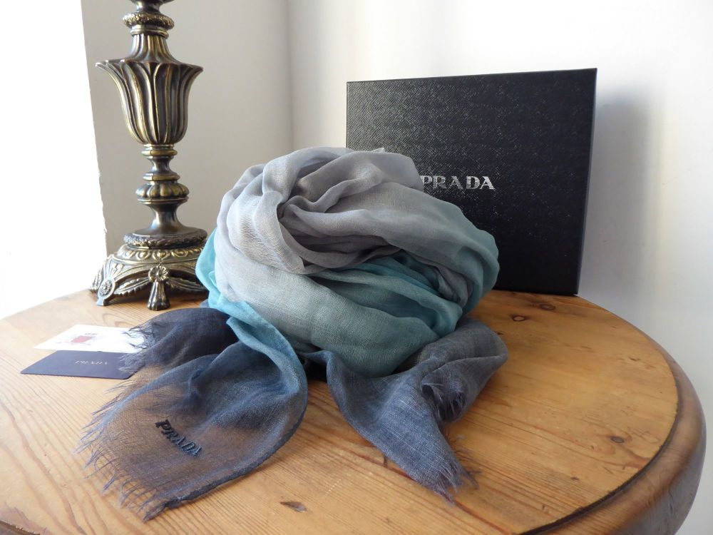 Prada XL 100% Cashmere Shawl Wrap in Bluette Ombre Degrade - New
