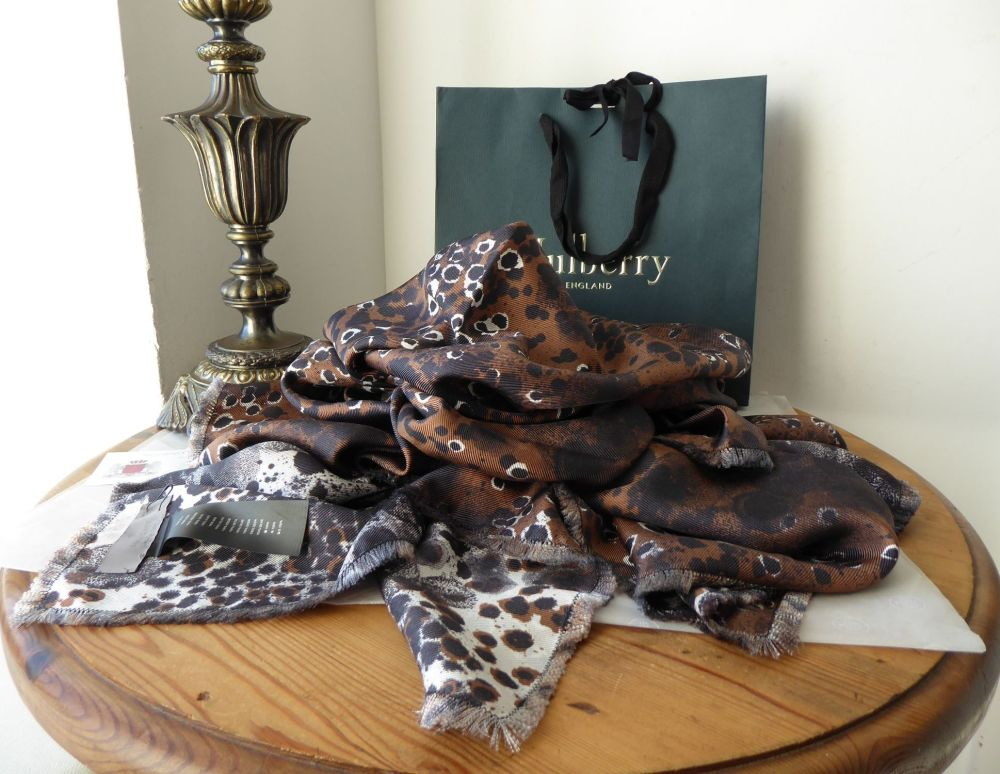 Mulberry Reversible Inky Animal Print Large Square 100% Silk Wrap