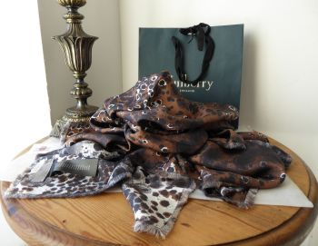 Mulberry Reversible Inky Animal Print Large Square 100% Silk Wrap - New*