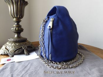 Mulberry Georgia May Jagger Biker Pouch Bag in Sapphire Blue Soft Polished Buffalo