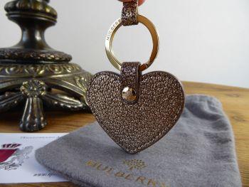 Mulberry Heart Keyring in Metallic Mushroom Goat Leather