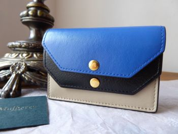 Mulberry Multiflap Multi Card Case Purse in Dune, Porcelain Blue and Black