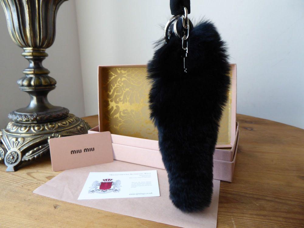 Miu Miu Keyholder Bag Charm Rex Fur Trick in Black - New