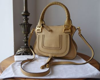 Chloe Small Marcie in Subtle Yellow Pebbled Calfskin with Brushed Goldtone Hardware