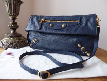 Balenciaga Envelope Shoulder Clutch in Bleu Marine with Giant 12 Gold Hardware
