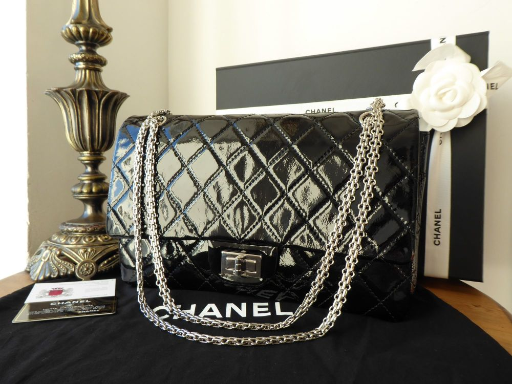 Chanel 226 Reissue Mademoiselle Flap in Black Patent Leather with Shiny Sil