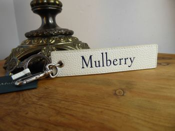 Mulberry Signature Snap Hook Keyring in White & Midnight Small Classic Grain Leather