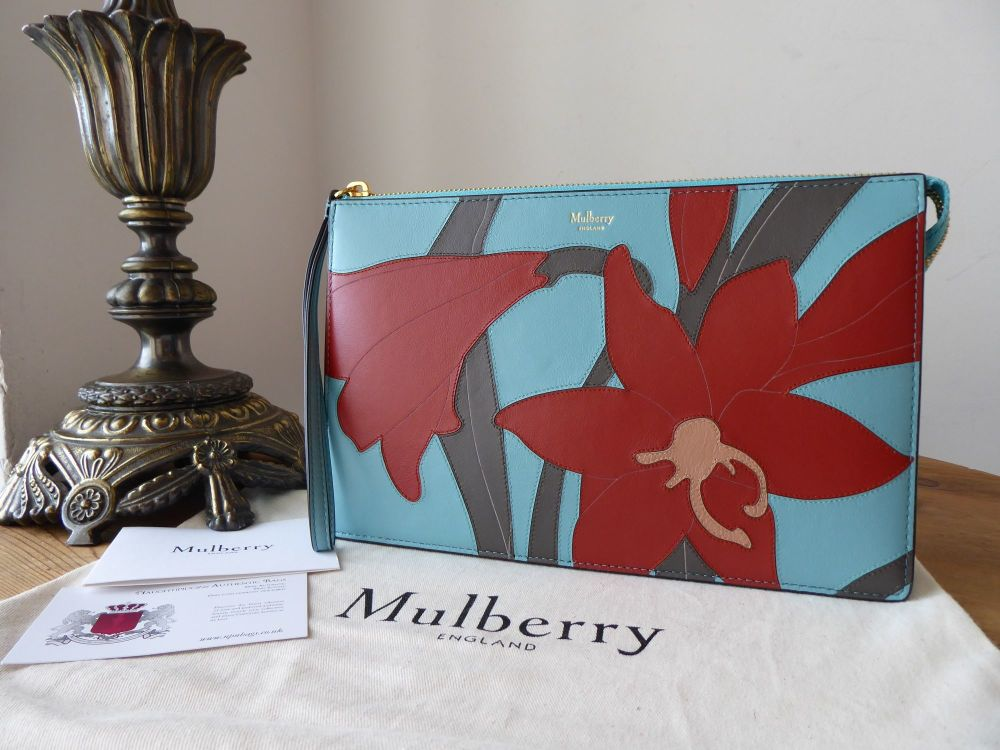 Mulberry Patchwork Lily Clutch Zip Pouch in Frozen, Rust and Dark Chocolate
