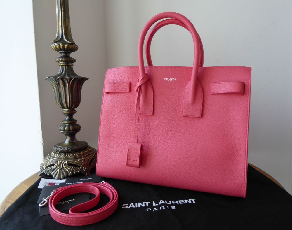 Saint Laurent YSL Classic Small Sac De Jour in Rose Clair Pink Grained Calf
