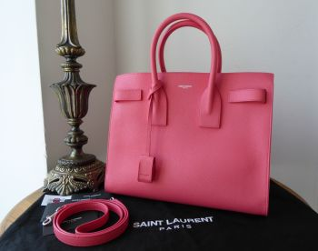 Saint Laurent YSL Classic Small Sac De Jour in Rose Clair Pink Grained Calfskin