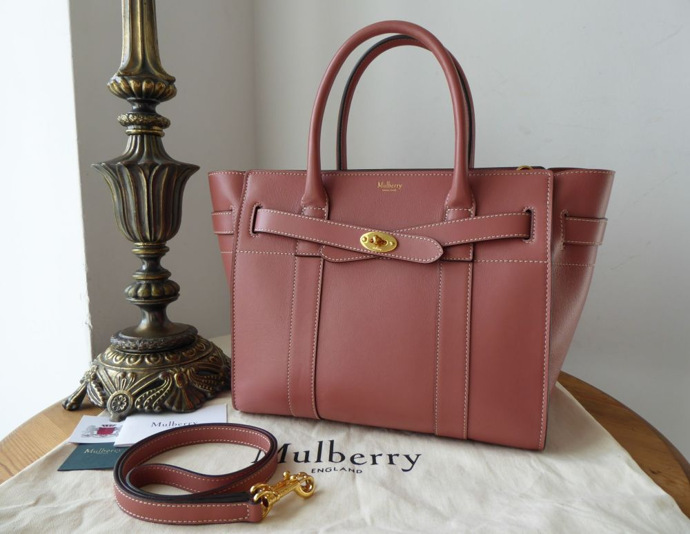 Mulberry Small Zipped Bayswater in Antique Pink Silky Calf Leather