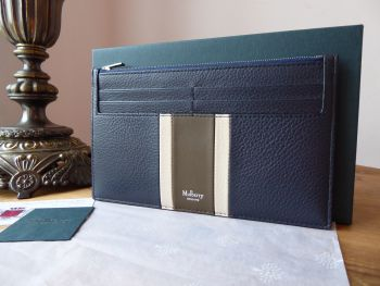 Mulberry College Stripe Travel Card Holder in Midnight, Chalk & Moss Small Classic Grain - New