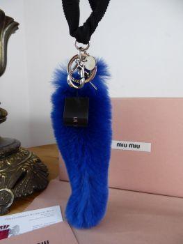 Miu Miu Keyholder Bag Charm Rex Fur Trick in Neon Blue  - New