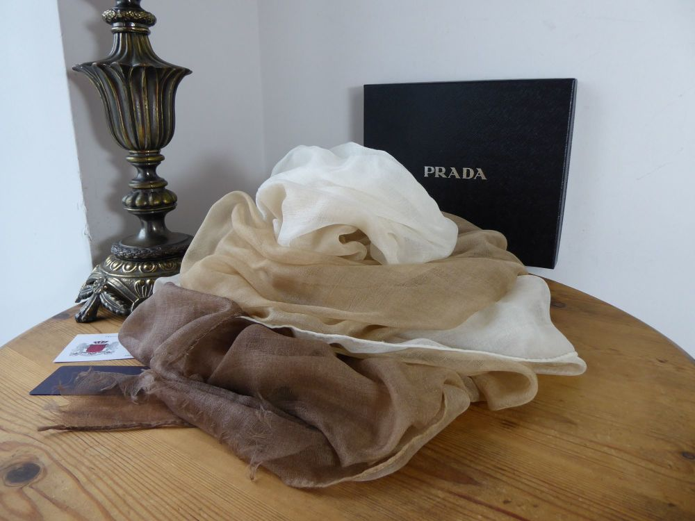 Prada XL 100% Cashmere Shawl Wrap in Cipria Ombre Degrade - New