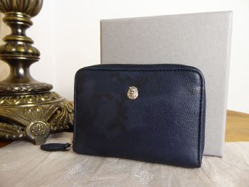 Mulberry Cara Delevingne Small Zip Around Card Coin Purse in Midnight Blue Camo Printed Goat Leather