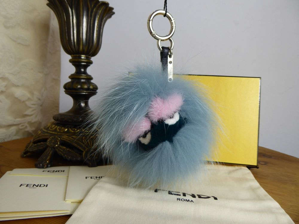 Fendi Monster Bag Bug Charm Keychain in Lagoon Blue & Pink Fur - New