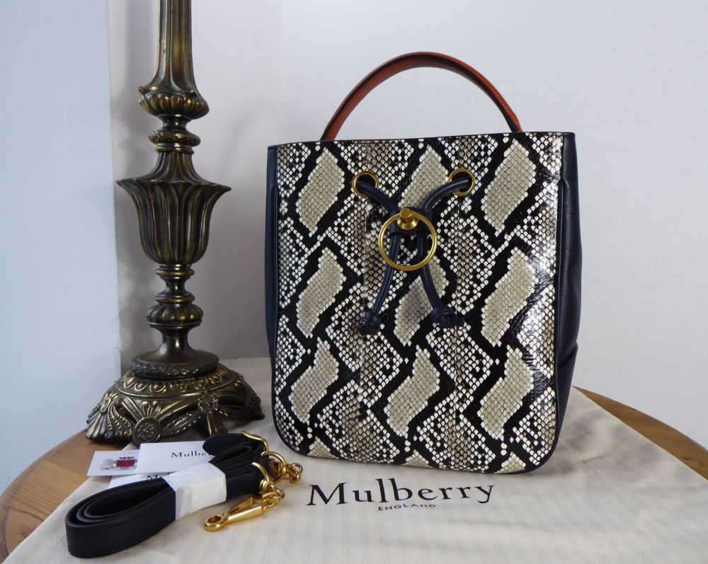 Mulberry Hampstead Bucket Bag in Midnight Silky Calf & Ayers Snakeskin New