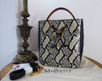 Mulberry Hampstead Bucket Bag in Midnight Silky Calf & Ayers Snakeskin - New