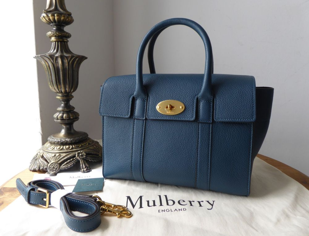 Mulberry Small Bayswater in Deep Sea Small Classic Grain