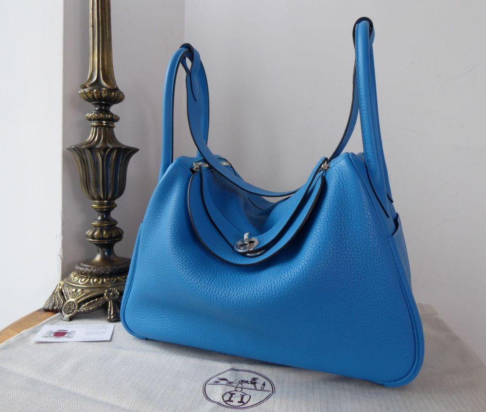 Hermés Lindy 34  in Bleu Zanzibar Taurillon Clemence Leather with Palladium