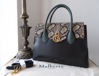 Mulberry Seaton in Black & Antique Blue Smooth Calf with Snakeskin - As New
