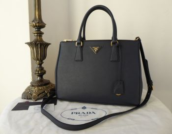 Prada Medium Galleria Double Zip Tote in Baltico Navy Blue Saffiano Leather - New *