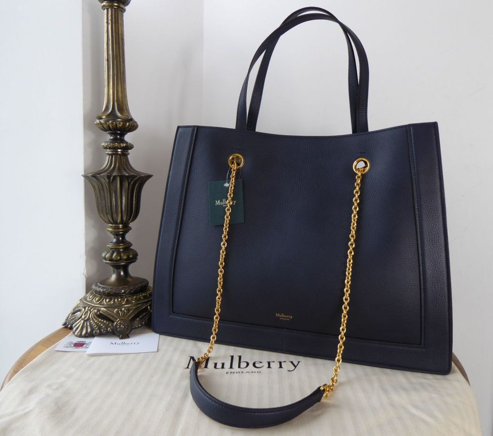 Mulbery Vale Tote in Bright Navy Small Classic Grain - New