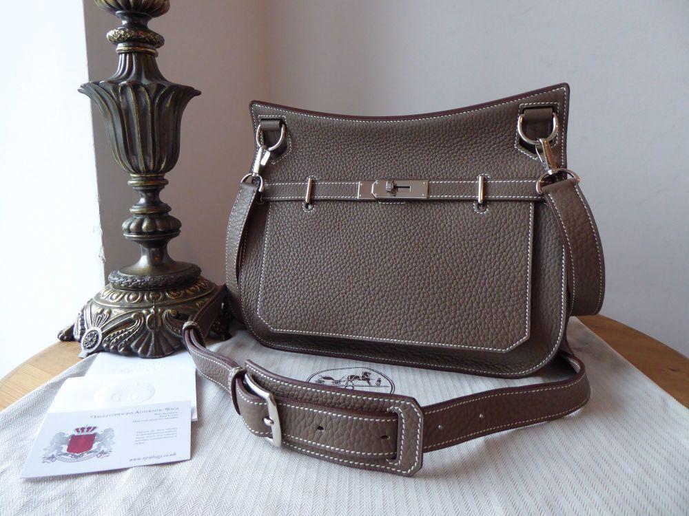 Hermés Jypsière 28 Etoupe Clemence Leather with Palladium Hardware - New
