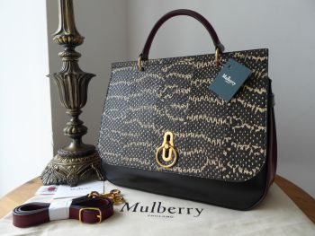 Mulberry Amberley in Black & Crimson Smooth Calfskin with Snakeskin - New