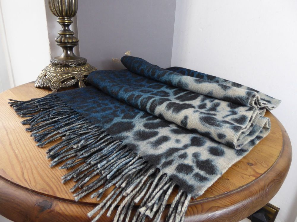Mulberry Large Fringed Scarf in Reversible Blue Leopard & Tiger Print Wool