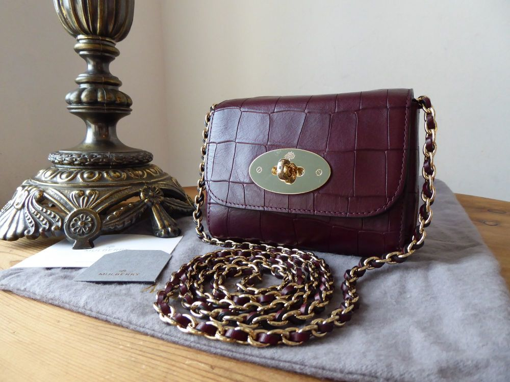 Mulberry Mini Lily in Oxblood Deep Embossed Croc Printed Leather