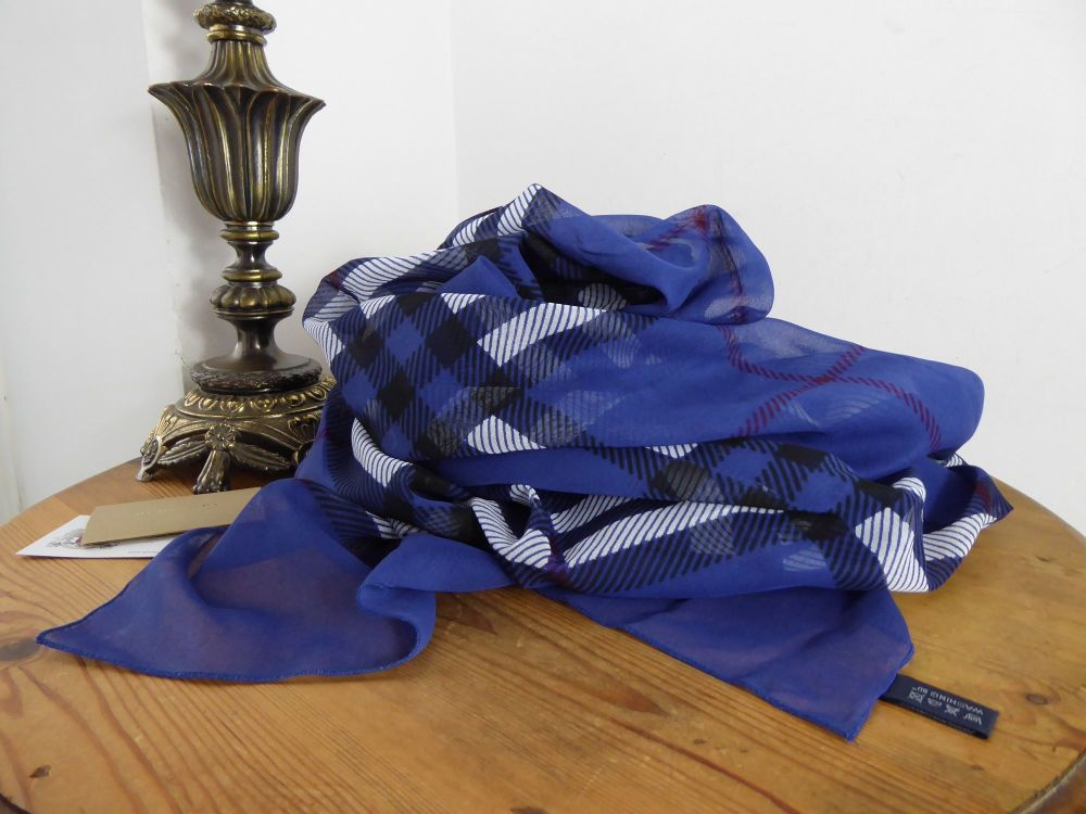 Burberry Large Wrap Scarf in Kingfisher Blue Check Cotton