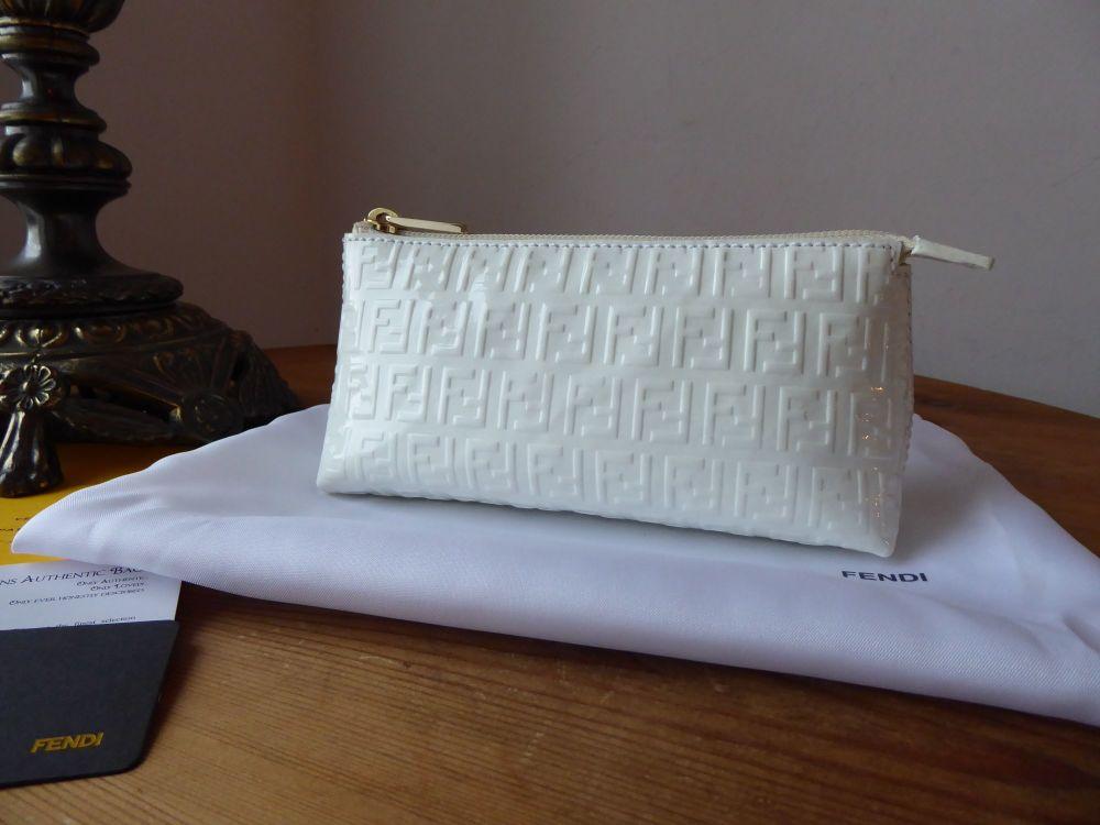 Fendi Small Zip Pouch in FF Zucca Stamped Bianco White Vernice Patent Calfs