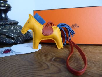 Hermés Rodeo PM Horse Bag Charm in Golden Yellow, Agate & Carnelian Milo Lambskin
