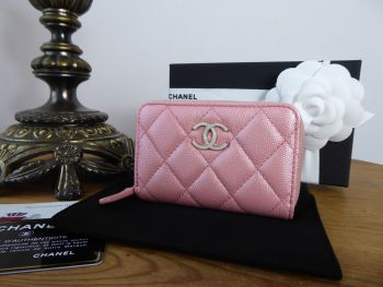 Chanel Small Zip Around Coin Purse Card Holder in Pink Iridescent Caviar with Pearly CC Plaque