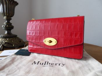 Mulberry Small Darley Shoulder Clutch in Ruby Red Croc Embossed Nappa Leather - New*
