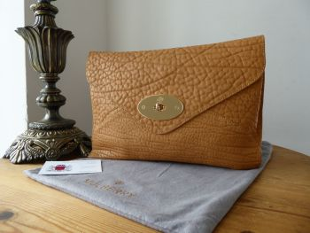 Mulberry Willow Envelope Clutch Bag in Biscuit Brown Shrunken Calf