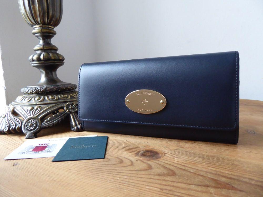 Mulberry Plaque Continental Wallet Purse in Midnight & Oxblood Sleek Calf