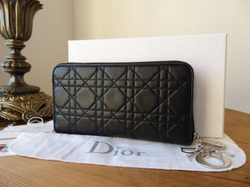 Dior Lady Dior Zip Around Continental Purse Wallet in Black Lambskin Cannage