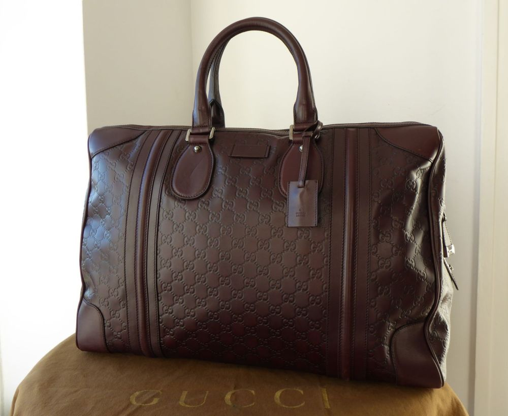 Gucci Large Holdall Duffle Travel Boston in Chocolate Guccissima Leather
