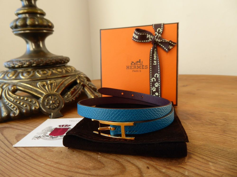 Hermès ehapi Double Tour Wrap Bracelet in Bleu Izmir & Prune with Gold Hard