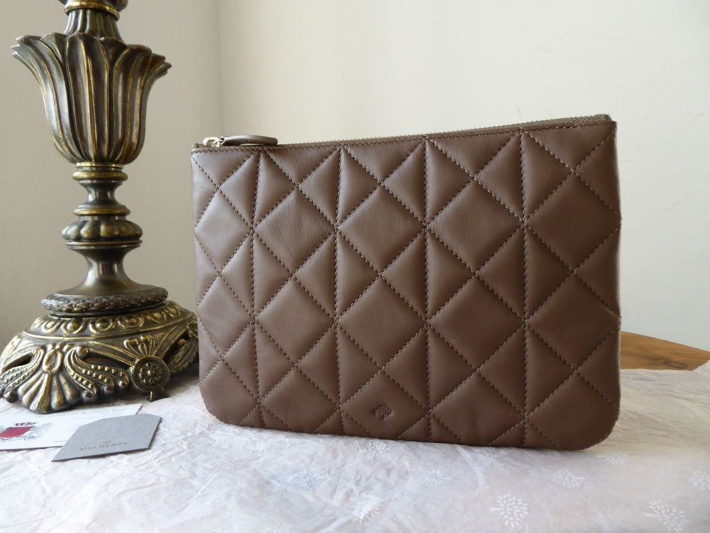 Mulberry Cara Delevingne Zip Pouch in Taupe Quilted Nappa