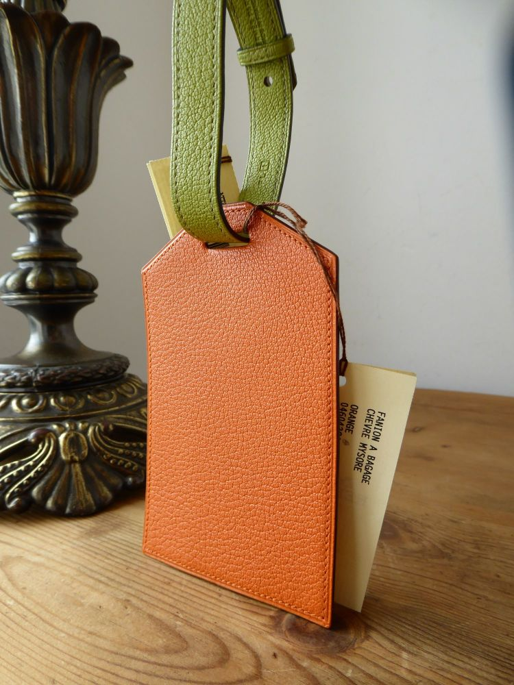 Hermés Large Luggage Tag Label in Orange & Vert Anis Chèvre Mysore with Pal